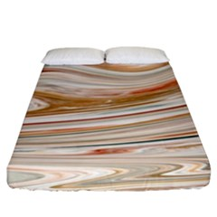 Brown And Yellow Abstract Painting Fitted Sheet (king Size)