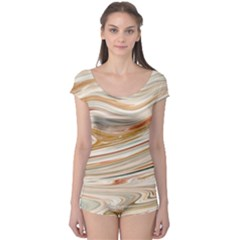 Brown And Yellow Abstract Painting Boyleg Leotard