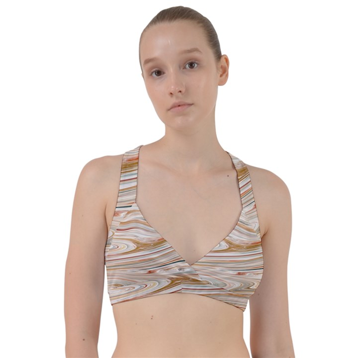 Brown And Yellow Abstract Painting Sweetheart Sports Bra
