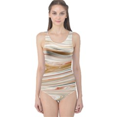 Brown And Yellow Abstract Painting One Piece Swimsuit by Pakrebo