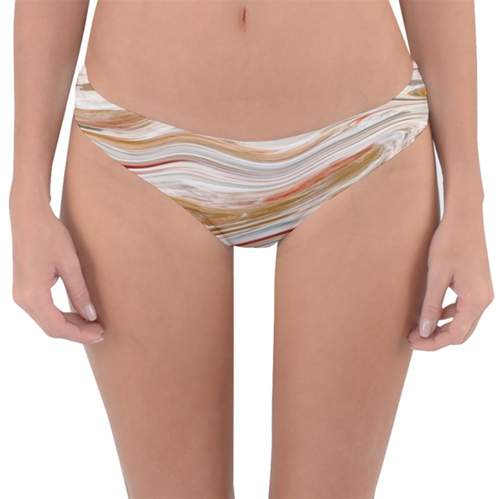 Brown And Yellow Abstract Painting Reversible Hipster Bikini Bottoms