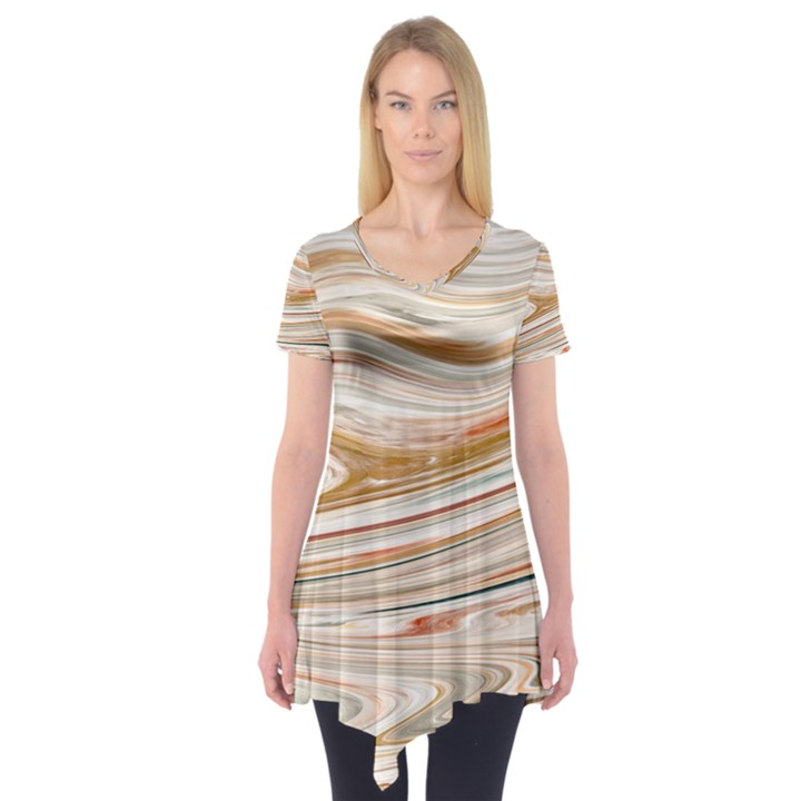 Brown And Yellow Abstract Painting Short Sleeve Tunic