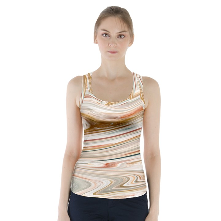 Brown And Yellow Abstract Painting Racer Back Sports Top