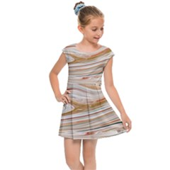 Brown And Yellow Abstract Painting Kids  Cap Sleeve Dress