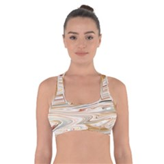 Brown And Yellow Abstract Painting Cross Back Sports Bra