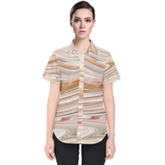 Brown And Yellow Abstract Painting Women s Short Sleeve Shirt