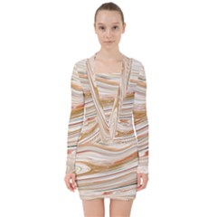 Brown And Yellow Abstract Painting V Neck Bodycon Long Sleeve Dress