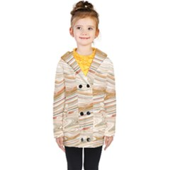 Brown And Yellow Abstract Painting Kids  Double Breasted Button Coat