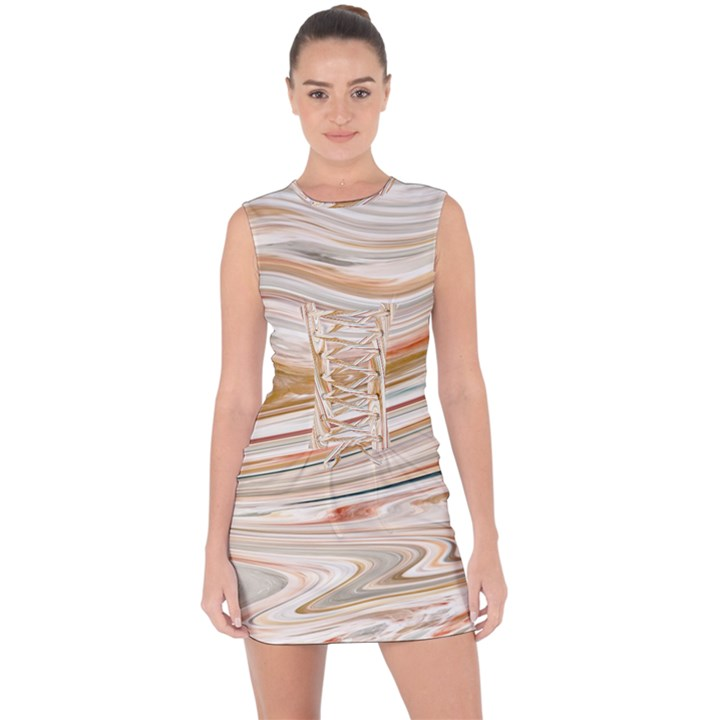Brown And Yellow Abstract Painting Lace Up Front Bodycon Dress