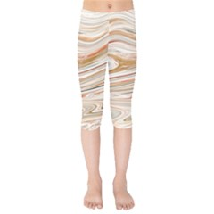 Brown And Yellow Abstract Painting Kids  Capri Leggings  by Pakrebo