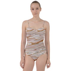 Brown And Yellow Abstract Painting Sweetheart Tankini Set by Pakrebo