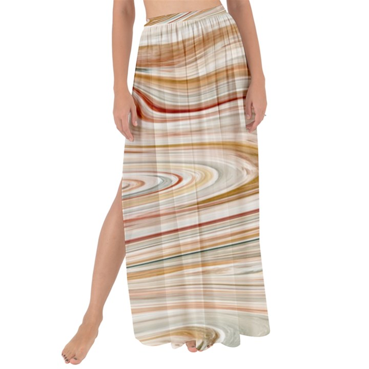 Brown And Yellow Abstract Painting Maxi Chiffon Tie-Up Sarong