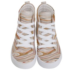 Brown And Yellow Abstract Painting Kids  Hi Top Skate Sneakers