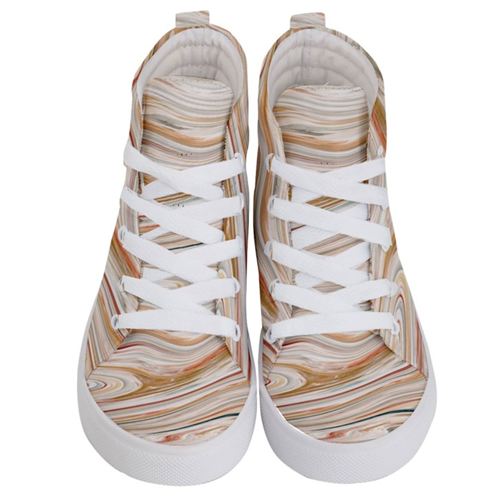 Brown And Yellow Abstract Painting Kids  Hi-Top Skate Sneakers