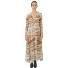Brown And Yellow Abstract Painting Button Up Boho Maxi Dress