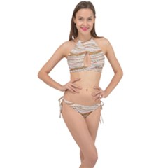 Brown And Yellow Abstract Painting Cross Front Halter Bikini Set by Pakrebo