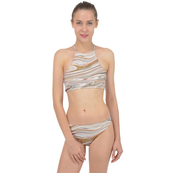 Brown And Yellow Abstract Painting Racer Front Bikini Set