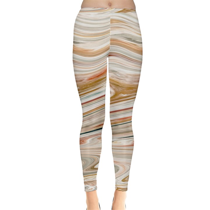 Brown And Yellow Abstract Painting Inside Out Leggings