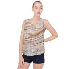 Brown And Yellow Abstract Painting Bubble Hem Chiffon Tank Top