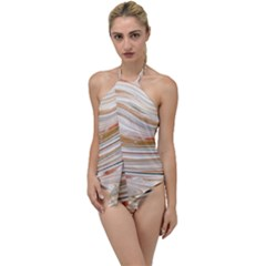 Brown And Yellow Abstract Painting Go With The Flow One Piece Swimsuit by Pakrebo