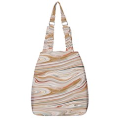 Brown And Yellow Abstract Painting Center Zip Backpack by Pakrebo