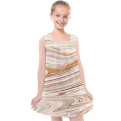 Brown And Yellow Abstract Painting Kids  Cross Back Dress by Pakrebo