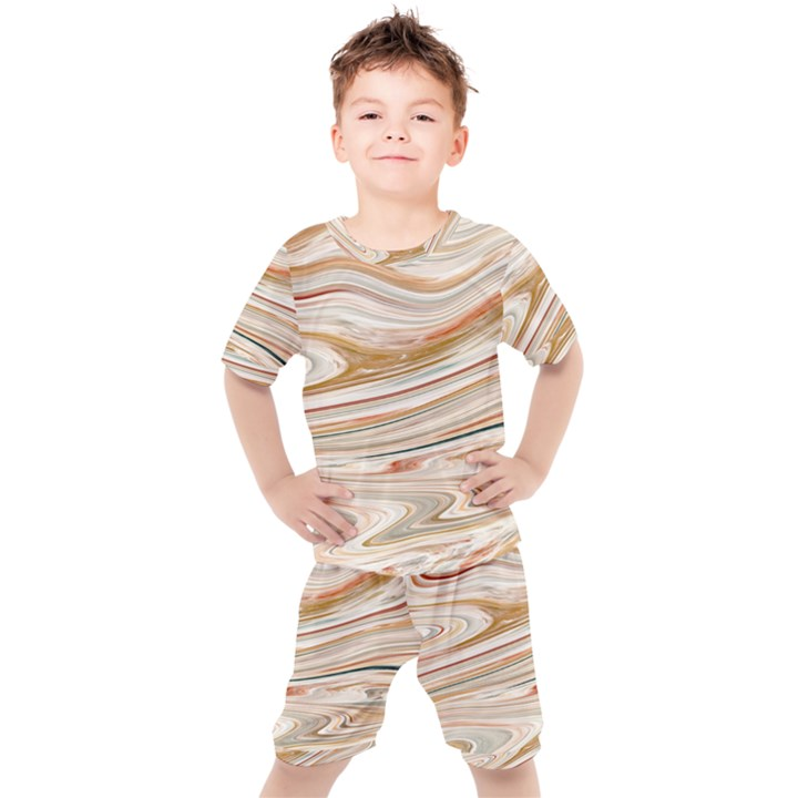 Brown And Yellow Abstract Painting Kids  Tee and Shorts Set