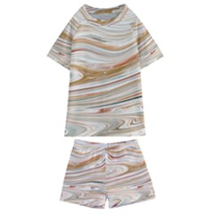 Brown And Yellow Abstract Painting Kids  Swim Tee And Shorts Set by Pakrebo