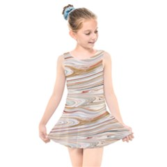 Brown And Yellow Abstract Painting Kids  Skater Dress Swimsuit by Pakrebo