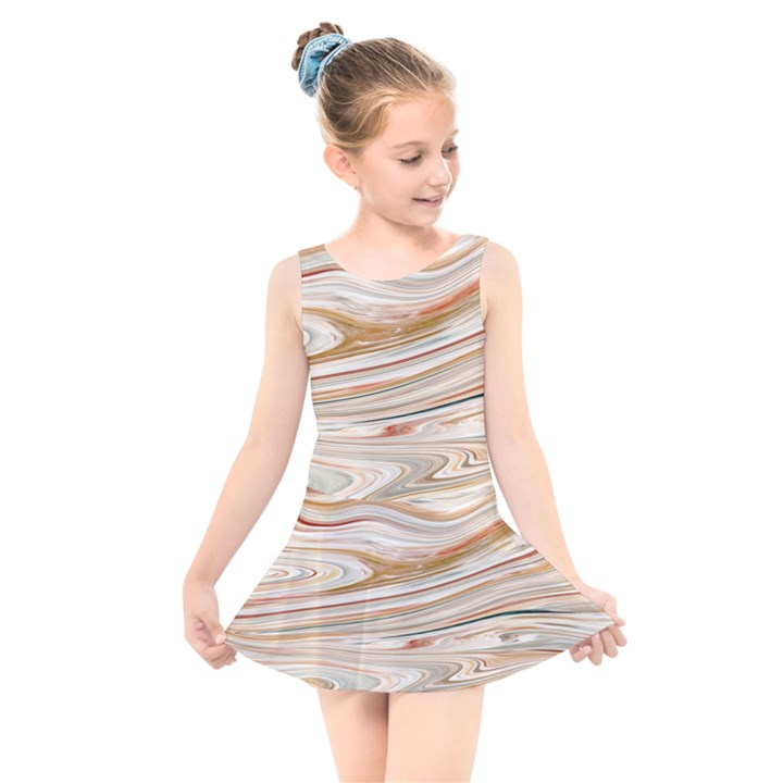 Brown And Yellow Abstract Painting Kids  Skater Dress Swimsuit