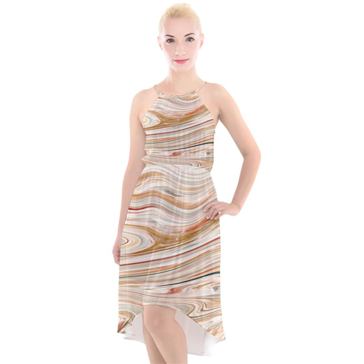 Brown And Yellow Abstract Painting High-Low Halter Chiffon Dress