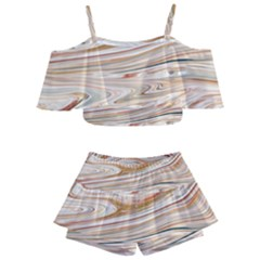 Brown And Yellow Abstract Painting Kids  Off Shoulder Skirt Bikini by Pakrebo