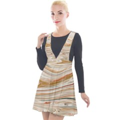 Brown And Yellow Abstract Painting Plunge Pinafore Velour Dress