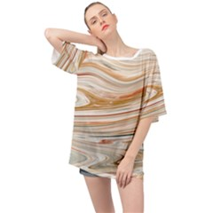 Brown And Yellow Abstract Painting Oversized Chiffon Top