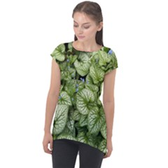 Green And White Leaf Plant Cap Sleeve High Low Top by Pakrebo