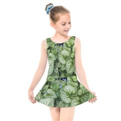 Green And White Leaf Plant Kids  Skater Dress Swimsuit
