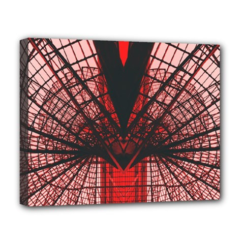 Low Angle Photography Of Red Metal Tower Deluxe Canvas 20  X 16  (stretched) by Pakrebo