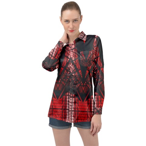 Low Angle Photography Of Red Metal Tower Long Sleeve Satin Shirt by Pakrebo