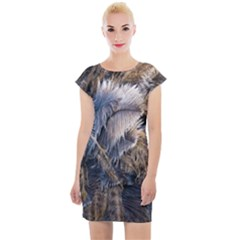 Dried Leafed Plants Cap Sleeve Bodycon Dress