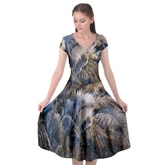 Dried Leafed Plants Cap Sleeve Wrap Front Dress