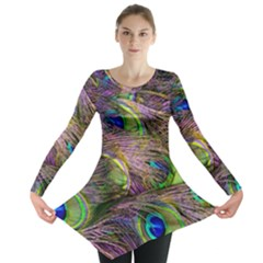 Green Purple And Blue Peacock Feather Digital Wallpaper Long Sleeve Tunic