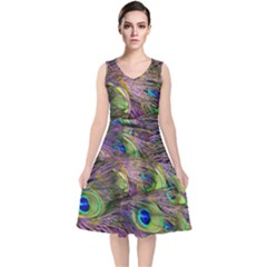 Green Purple And Blue Peacock Feather Digital Wallpaper V Neck Midi Sleeveless Dress