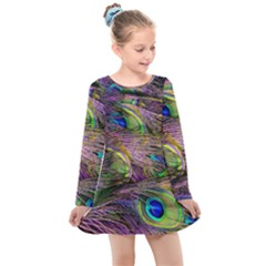 Green Purple And Blue Peacock Feather Digital Wallpaper Kids  Long Sleeve Dress