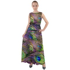 Green Purple And Blue Peacock Feather Digital Wallpaper Chiffon Mesh Maxi Dress