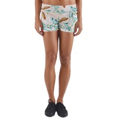Floral Boho Watercolor Pattern Yoga Shorts by tarastyle