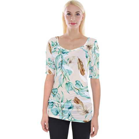 Floral Boho Watercolor Pattern Wide Neckline Tee by tarastyle