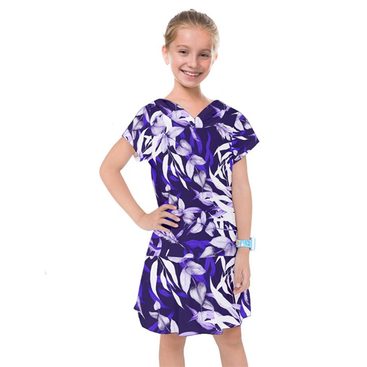 Floral Boho Watercolor Pattern Kids  Drop Waist Dress