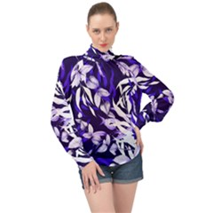 Floral Boho Watercolor Pattern High Neck Long Sleeve Chiffon Top by tarastyle