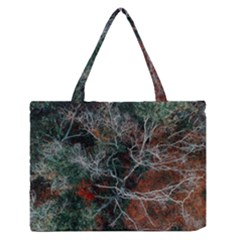 Aerial Photography Of Green Leafed Tree Zipper Medium Tote Bag
