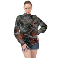 Aerial Photography Of Green Leafed Tree High Neck Long Sleeve Chiffon Top by Pakrebo